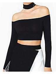 billige -Skulderfri Dame - Ensfarvet Bomuld I-byen-tøj T-shirt