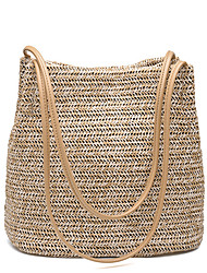 Women Bags All Seasons Straw Shoulder Bag for Wedding Event/Party Casual Sports Formal Outdoor Office & Career Almond Cream