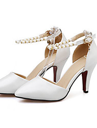 Women's Shoes PU Summer Comfort Heels For Casual White Blue Light Pink