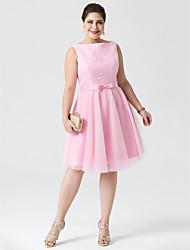 Princesa Bateau Neck Até os Joelhos Renda Tule Coquetel Vestido com Laço(s) Faixa / Fita de TS Couture®