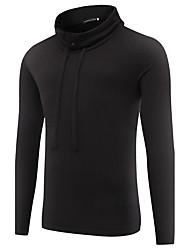 Tee-shirt Homme,Couleur Pleine Sports Sortie simple Chic de Rue Actif Printemps Automne Manches Longues Col Roulé Coton Moyen