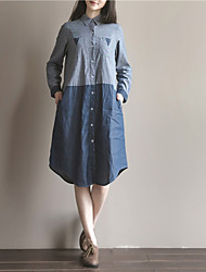 Women's Casual/Daily Simple Loose Denim Dress,Color Block Shirt Collar Knee-length Long Sleeves Cotton Winter High Rise Inelastic Thin