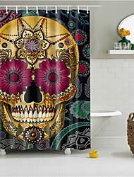 abordables -Rideaux de douche et anneaux Polyester Crânes Fabrication à la main