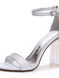 preiswerte -Damen Schuhe Satin Frühling Sommer Knöchelriemen Transparente Schuh T-Riemen Pumps Hochzeit Schuhe Blockabsatz Kristallabsatz
