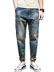 cheap -Men's Mid Rise Micro-elastic Skinny Harem Jeans Pants,Casual Street chic Solid All Seasons