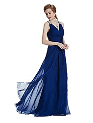 cheap -A-Line V-neck Floor Length Chiffon Satin Formal Evening Wedding Party Dress with Crystal Detailing Draping Side Draping by W.JOLI