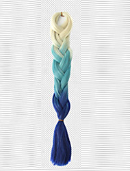 cheap -blue Box Braids Jumbo Hair Extensions 24inch Kanekalon 1 Piece 80-100g/pc gram Hair Braids