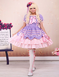 cheap -Sweet Lolita Dress Princess Satin Dress Cosplay Light Purple Sleeveless Knee Length