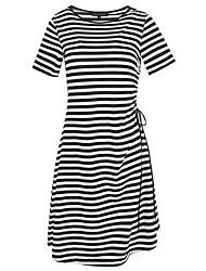 Damen T Shirt Kleid-Party Ausgehen Lässig/Alltäglich Einfach Niedlich Street Schick Gestreift Rundhalsausschnitt Knielang Kurzarm