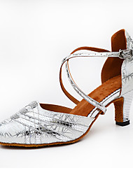 cheap -Women's Samba PU Heel Indoor Buckle Splicing Gold Black Silver Customizable