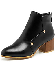 cheap -Women's Shoes PU Fall Winter Comfort Novelty Fashion Boots Bootie Boots Chunky Heel Pointed Toe Booties/Ankle Boots Split Joint Zipper For