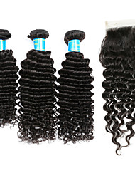 abordables -Cheveux Indiens Ondulation profonde Tissages de cheveux humains 4 One Pack Solution
