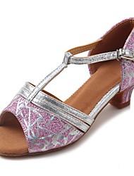 "cheap -Kids' Latin Sparkling Glitter Leatherette Sandal Heel Practice Buckle Sparkling Glitter Chunky Heel Blushing Pink 1"" - 1 3/4"" Customizable"