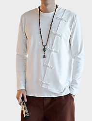 Men's Party Going out Club Vintage Simple Chinoiserie Fall Winter Shirt,Solid Stand Long Sleeves Linen Thin