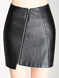 Women's Casual/Daily Mini Skirts,Simple Bodycon Solid Fall Winter