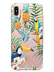 Недорогие -Кейс для Назначение Apple iPhone X iPhone 8 Прозрачный С узором Кейс на заднюю панель Цветы Фрукты Животное Мягкий ТПУ для iPhone X
