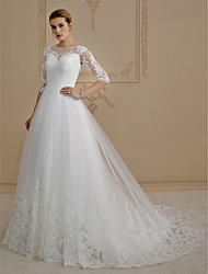 cheap -A-Line Princess Illusion Neckline Court Train Lace Tulle Wedding Dress with Appliques Buttons by LAN TING BRIDE®