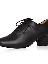 cheap -Men's Latin Shoes Leather Oxford Outdoor Chunky Heel Dance Shoes Black