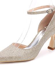 preiswerte -Damen Schuhe Glanz Frühling Herbst Pumps Knöchelriemen Hochzeit Schuhe Blockabsatz Spitze Zehe für Hochzeit Party & Festivität Gold Silber