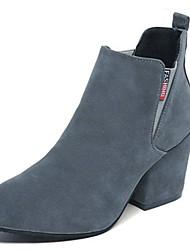 Недорогие -Для женщин Обувь Полиуретан Зима Удобная обувь Ботинки На плоской подошве Круглый носок Ботинки Назначение Повседневные Черный Серый