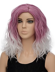 Women Synthetic Wig Capless Short Water Wave Dark Red Ombre Hair Halloween Wig Costume Wig