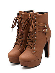 Women's Shoes PU Fall Winter Comfort Novelty Fashion Boots Boots Chunky Heel Round Toe Booties/Ankle Boots Buckle Lace-up For Office &