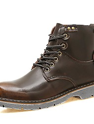 cheap -Men's Bootie Leather Fall / Winter Boots Booties / Ankle Boots Black / Brown