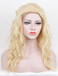 cheap -Women Synthetic Wig Capless Long Curly Water Wave Blonde Silk Base Hair Party Wig Celebrity Wig Halloween Wig Cosplay Wigs Costume Wigs
