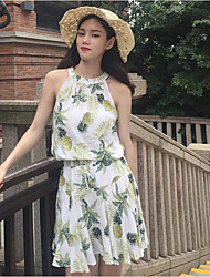 Damen Muster Einfach Lässig/Alltäglich T-Shirt-Ärmel Hose Anzüge,Halter Frühling Ärmellos Mikro-elastisch