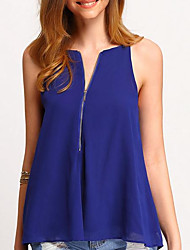 cheap -Women's Going out Casual Blouse,Solid Strap Sleeveless Polyester