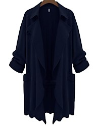 cheap -Women's Daily Holiday Simple Casual Street chic Fall Trench Coat,Solid Peaked Lapel Long Sleeve Regular Polyester
