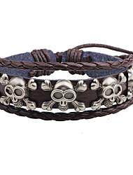 Homme Bracelets en cuir Ajustable Métallique Cuir Alliage Forme de Tête de Mort Bijoux Pour Décontracté Plein Air