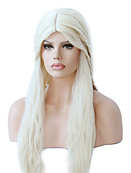 Women Synthetic Wig Capless Long Wavy Yellow Braided Wig Middle Part Sew in 100% kanekalon hair With Baby Hair Cosplay Wigs Costume Wig