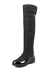 Women's Boots Snow Boots Winter Leatherette Outdoor Office & Career Magic Tape Low Heel Dark Blue Black 1in-1 3/4in