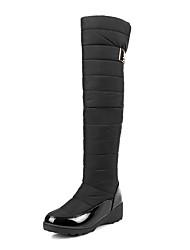 Feminino Botas Botas de Neve Inverno Courino Velcro Salto Baixo Preto Azul Escuro 2,5 a 4,5 cm