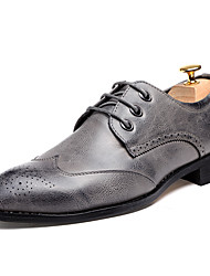 cheap -Men's Shoes Leatherette Fall Winter Formal Shoes Oxfords Lace-up For Wedding Party & Evening Burgundy Gray Black