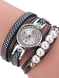 cheap -Women's Fashion Watch Bracelet Watch Chinese Quartz Calendar / date / day PU Band Charm Casual Pearls Elegant Black White Blue Pink Purple