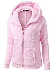 Women's Daily Hoodie Solid Hooded Micro-elastic Polyester Long Sleeve Winter Fall