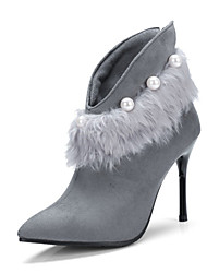 Women's Shoes Fleece Fall Winter Novelty Fashion Boots Boots Stiletto Heel Pointed Toe Booties/Ankle Boots Feather Imitation Pearl Zipper