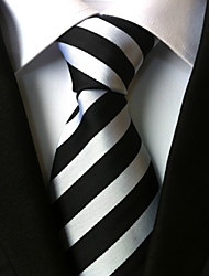 cheap -Men's Polyster Neck Tie,Striped Striped All Seasons White