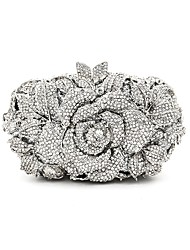 cheap -Women Bags Metal Evening Bag Crystal Detailing for Wedding Event/Party All Seasons Silver