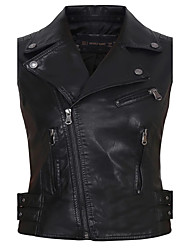 cheap -Women's Going out Daily Casual Street chic Spring Fall Leather Jacket