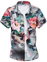 cheap -Men's Daily Plus Size Casual Summer Fall Shirt,Floral Square Neck Short Sleeves Cotton Polyester Medium
