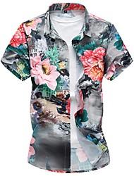 Недорогие -Муж. Большие размеры - Рубашка Хлопок Тонкие Цветочный принт