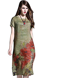 Women's Party Casual/Daily Vintage Shift Dress,Solid Round Neck Midi Short Sleeves Silk Linen Summer Mid Rise Micro-elastic Medium