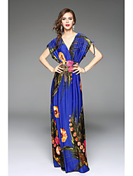 Women's Boho/Backless Beach Plus Size/Swing Dress,Floral Deep V Maxi Sleeveless Multi-color Polyester Spring