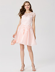 cheap -A-Line Princess Jewel Neck Short / Mini Lace Organza Cocktail Party Dress with Appliques by TS Couture®