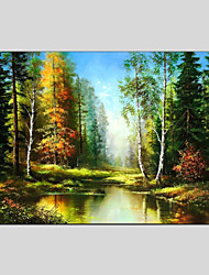 cheap -Hand-Painted Landscape Horizontal Panoramic, Other Canvas Oil Painting Home Decoration One Panel