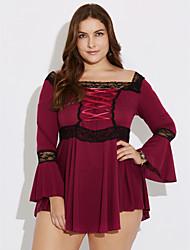 preiswerte -Damen Solide Übergröße / Einfach Lässig/Alltäglich Hemd,Rundhalsausschnitt ¾-Arm Blau / Rot / Schwarz / Lila Polyester Mittel
