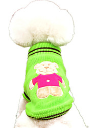cheap -Dog Sweater Dog Clothes Cartoon Yellow / Red / Green Woolen Costume For Pets Casual / Daily